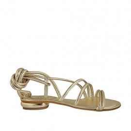 Sandalo alla schiava da donna con lacci in pelle laminata platino tacco 1 - Misure disponibili: 33, 34, 42, 43, 44, 45