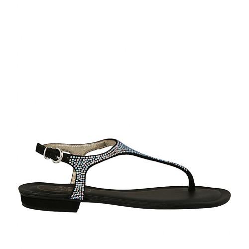 Sandale Avec Daim Noir En Femmes Entredoigt Pour Strass 1 Talon oxdCBWer