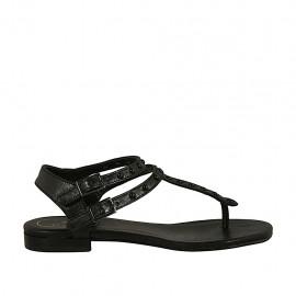 Sandalia infradedo para mujer con cinturoes y perlas en piel negra tacon 1 - Tallas disponibles:  34, 42, 43, 44, 45