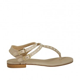 Woman's thong sandal with straps and pearls in beige leather heel 1 - Available sizes:  33, 34, 42, 43, 44, 45