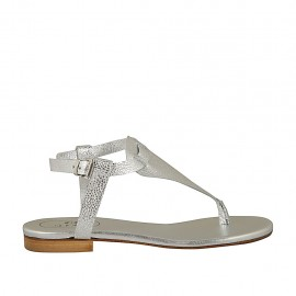 Sandalo infradito da donna con cinturino in pelle stampata laminata argento tacco 1 - Misure disponibili: 33, 34, 42, 43, 44, 45