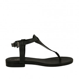 Woman's thong strap sandal in black printed leather heel 1 - Available sizes:  34, 42, 43, 45