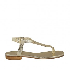 Woman's thong sandal with strap in platinum laminated printed leather heel 1 - Available sizes:  33, 34, 42, 43, 44, 45