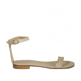 Woman's open shoe with strap in beige leather heel 1 - Available sizes:  33, 34, 42, 43, 44, 45