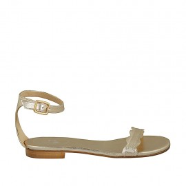 Woman's open shoe with strap in platinum laminated leather heel 1 - Available sizes:  33, 34, 42, 43, 44, 45