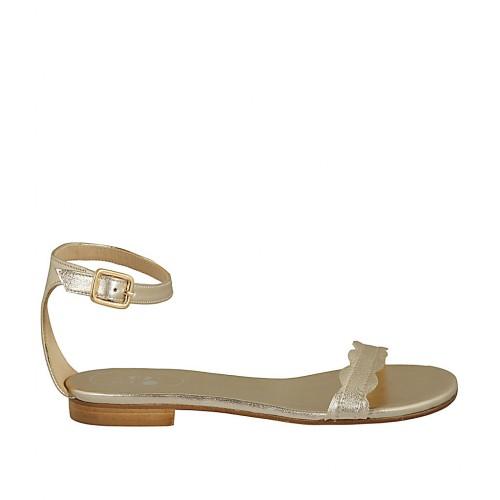 fac659075f364 Zapato abierto con cinturon para mujer en piel laminada platino tacon 1 -  Tallas disponibles