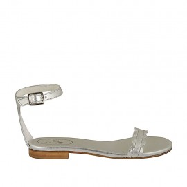 Woman's open shoe with strap in silver laminated leather heel 1 - Available sizes:  33, 34, 42, 43, 44, 45