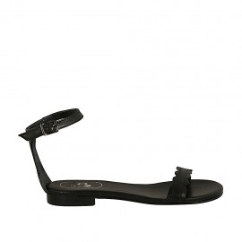 Woman's open shoe with strap in black leather heel 1 - Available sizes:  33, 34, 42, 43, 44, 45