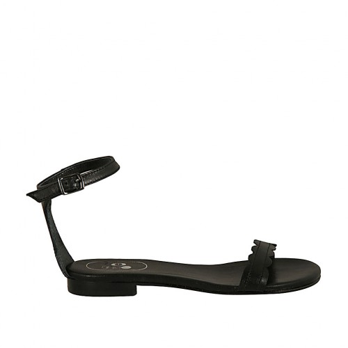 Cuir 1 Courroie Chaussure Pour Avec En Talon Ouvert Femmes Noir 1cFKJl