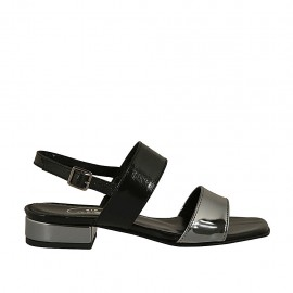 Sandalia para mujer en charol negro y bronce de cañon tacon 2 - Tallas disponibles:  32, 33, 34, 42, 43, 44, 45, 46