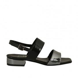 Sandalo da donna in vernice nera e canna di fucile tacco 2 - Misure disponibili: 32, 33, 34, 42, 43, 44, 45, 46