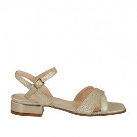 Woman's laminated and printed platinum strap sandal heel 2 - Available sizes:  32, 33, 34, 42, 43, 44, 45, 46
