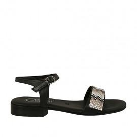 Sandalia con cinturon y estrás para mujer en piel negra tacon 2 - Tallas disponibles:  32, 33, 34, 42, 43, 44, 45, 46