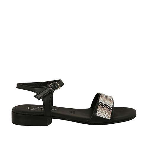 Woman's sandal in black leather with strap and rhinestones heel 2 - Available sizes:  32