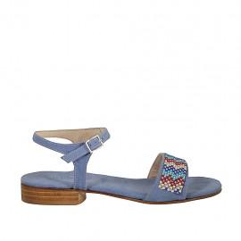 Sandalia con cinturon para mujer en gamuza azul claro con estrás tacon 2 - Tallas disponibles:  32, 33, 34, 42, 43, 44, 45, 46
