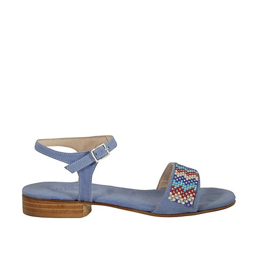 Woman's strap sandal in light blue suede with rhinestones heel 2 - Available sizes:  32, 33, 43