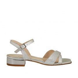 Woman's silver laminated printed strap sandal heel 2 - Available sizes:  32, 33, 34, 42, 43, 44, 45, 46
