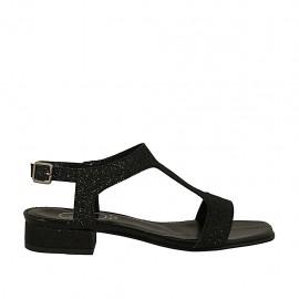 Sandalo da donna glitterato nero tacco 2 - Misure disponibili: 32, 33, 34, 42, 43, 44, 45, 46