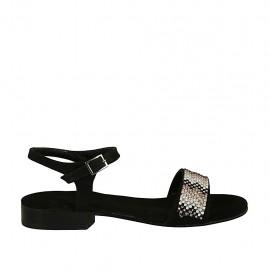 Sandalia con cinturon y estrás para mujer en gamuza negra tacon 2 - Tallas disponibles:  32, 33, 34, 42, 43, 44, 45, 46