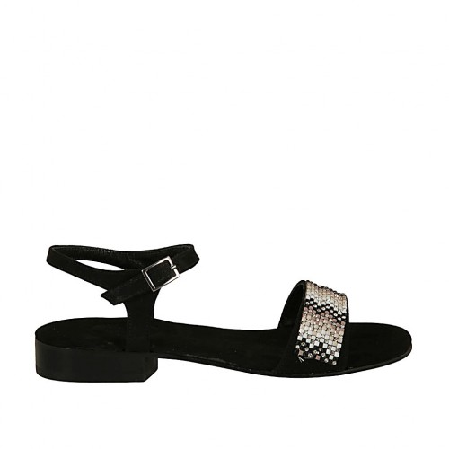 Woman's sandal in black suede with strap and rhinestones heel 2 - Available sizes:  32