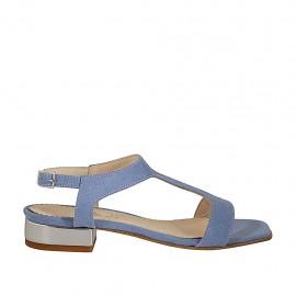 Sandalia para mujer en gamuza azul claro tacon 2 - Tallas disponibles:  32, 33, 34, 42, 43, 44, 45, 46