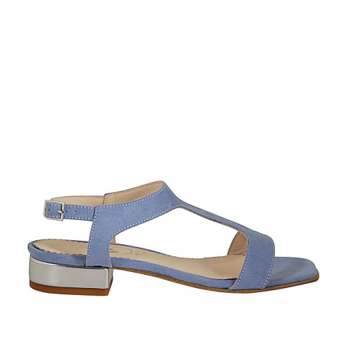 Woman's sandal in light blue suede heel 2 - Available sizes:  32, 43, 44, 46