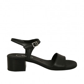 Woman's sandal with strap in black leather heel 4 - Available sizes:  32, 33, 34, 42, 43, 44, 45, 46