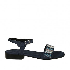 Sandalia con cinturon para mujer en gamuza azul con estrás tacon 2 - Tallas disponibles:  32, 33, 34, 42, 43, 44, 45, 46