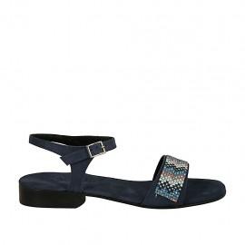 Sandalo da donna con cinturino e strass in camoscio blu tacco 2 - Misure disponibili: 32, 33, 34, 42, 43, 44, 45, 46