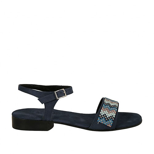 Woman's strap sandal in blue suede with rhinestones heel 2 - Available sizes:  32