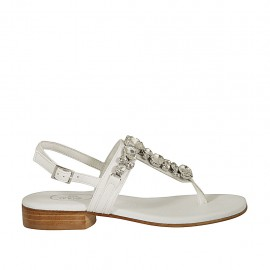 Woman's thong sandal with rhinestones in white leather heel 2 - Available sizes:  32, 33, 34, 42, 43, 44, 45, 46