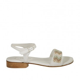 Sandalia con cinturon y estrás para mujer en piel blanca tacon 2 - Tallas disponibles:  32, 33, 34, 42, 43, 44, 45, 46