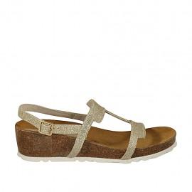 Sandale pour femmes scintillant platine talon compensé 4 - Pointures disponibles:  32, 33, 34, 42, 43, 44, 45, 46