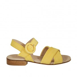 Woman's strap sandal in yellow suede heel 2 - Available sizes:  32, 33, 34, 42, 43, 44, 45, 46
