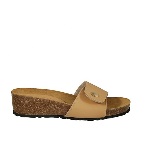 Woman's open mules in beige leather with button and velcro wedge heel 4 - Available sizes:  42, 43, 44