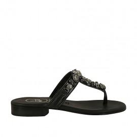 Damenzehenpantolette mit Strasssteinen aus schwarzem Leder Absatz 2 - Verfügbare Größen:  33