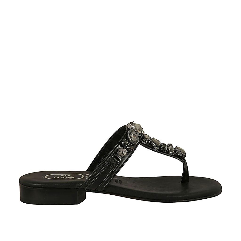 dernière conception vente discount 2019 meilleures ventes Mules entredoigt avec strass pour femmes en cuir noir talon 2