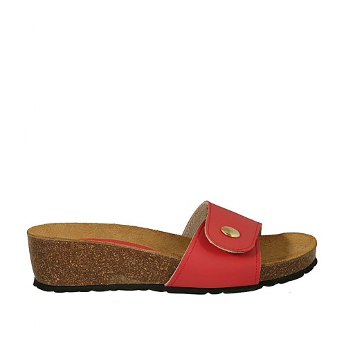 Woman's red open mules with button and velcro wedge heel 4 - Available sizes:  43