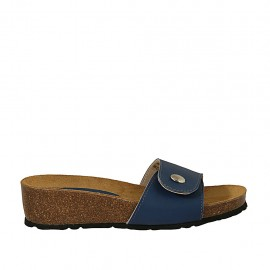 Woman's open mules in blue leather with button and velcro wedge heel 4 - Available sizes:  32, 33, 34, 42, 43, 44, 45, 46