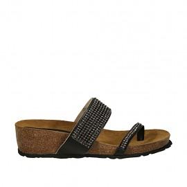 Offene Zehenpantolette für Damen aus schwarzem Leder mit Strasssteinen und Keilabsatz 4  - Verfügbare Größen:  32, 43, 44