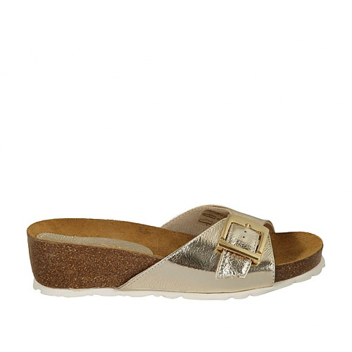 Woman's mules in platinum laminated leather with buckle wedge heel 4 - Available sizes:  42