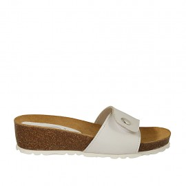 Woman's mules in white leather with button and velcro wedge heel 4 - Available sizes:  32, 33, 34, 42, 43, 44, 45, 46