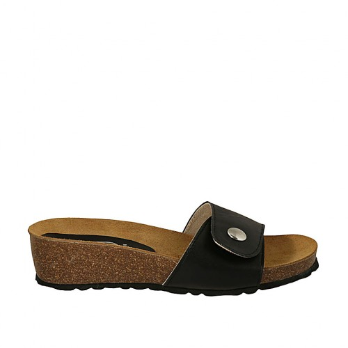 Woman's mules in black leather with button and velcro wedge heel 4 - Available sizes:  42, 43, 44