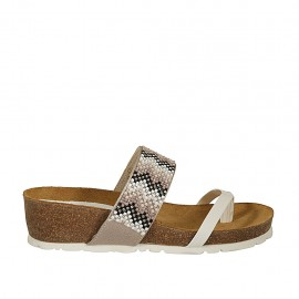 Woman's white and beige printed thong mules with multicolored rhinestones wedge heel 4 - Available sizes:  32, 33, 34, 42, 43, 44, 45