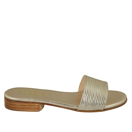 Woman's platinum laminated printed mules heel 2 - Available sizes:  33, 43