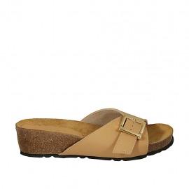 Mule pour femmes en cuir brun clair avec boucle talon compensé 4 - Pointures disponibles:  32, 33, 34, 42, 43, 44, 45, 46