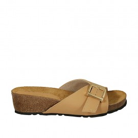 Woman's mules in tan-colored leather with buckle wedge heel 4 - Available sizes:  32, 33, 34, 42, 43, 44, 45, 46