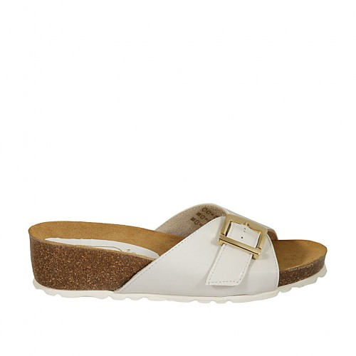 Woman's mules in white leather with buckle wedge heel 4 - Available sizes:  42, 43