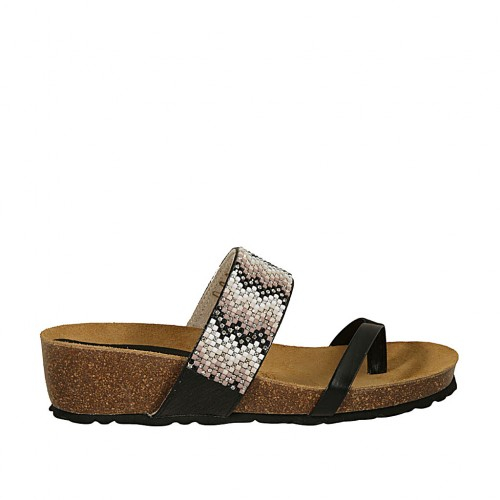 Woman's black printed thong mules with multicolored rhinestones wedge heel 4 - Available sizes:  42, 43