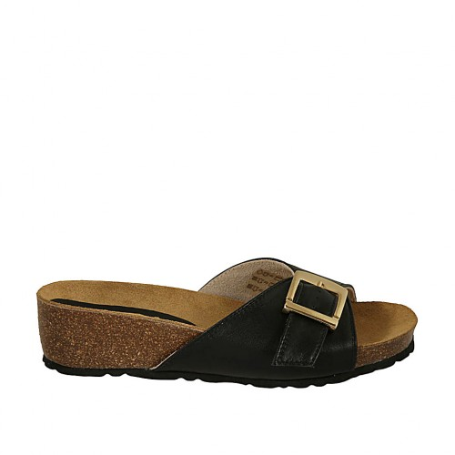 Woman's mules in black leather with buckle wedge heel 4 - Available sizes:  43